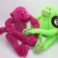 Pink Green two pack plush medcial monkeys for charity