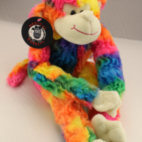 Rainbow plush medical monkey for charity